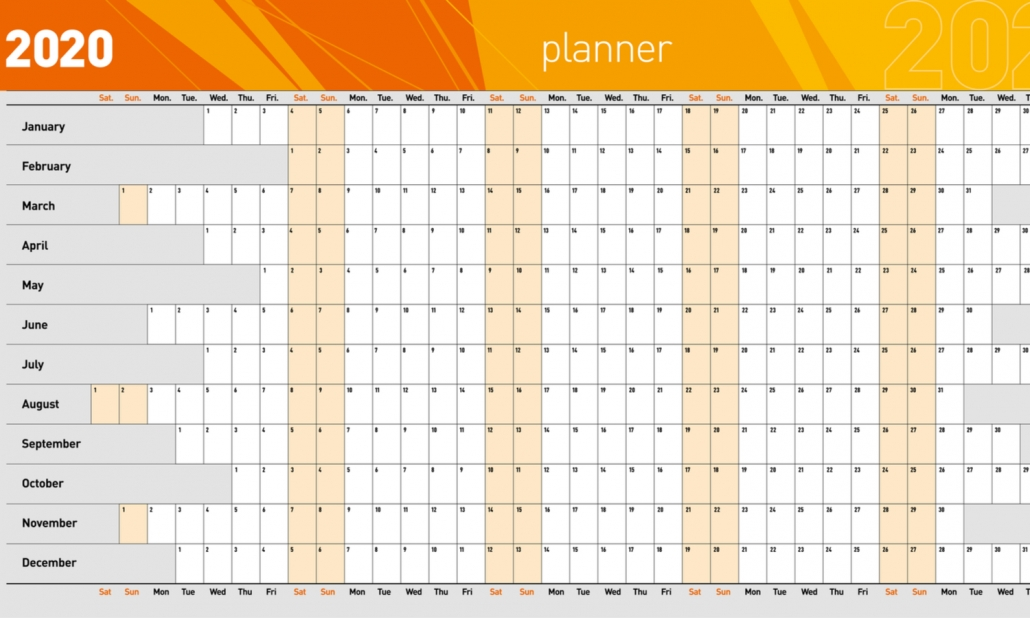 2020 Wall Planner Template