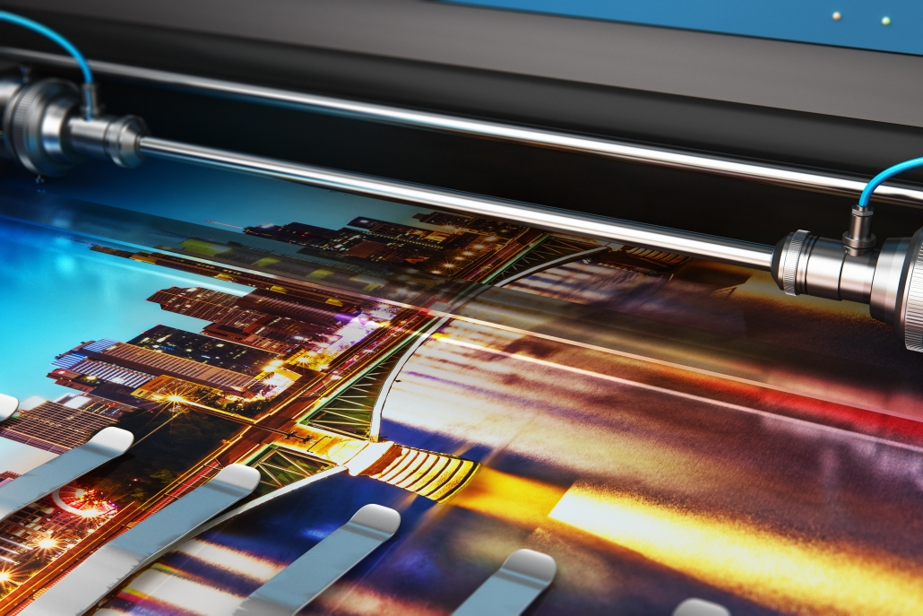 3D render illustration of printing photo banner on large format colour plotter in a digital print factory